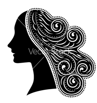 Free silhouette of woman with ornamental hair vector - Free vector #205417