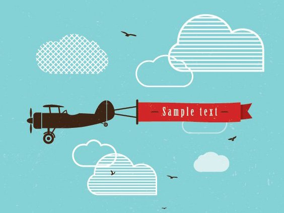 Vintage Airplane Banner - Free vector #205467