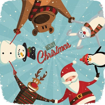 Cute Christmas Card - Free vector #205967
