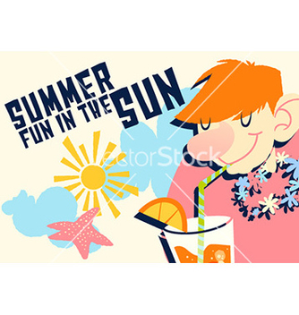 Free cartoon summer drink design vector - vector gratuit #206127