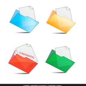 Set Of Folder And Document Icon - vector gratuit #206417