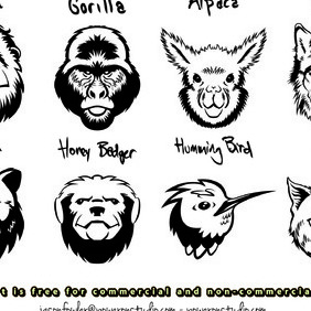 8 Animal Head Vectors - Free vector #206657