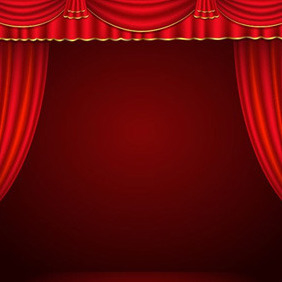 Stage Red Curtains - vector gratuit #206987