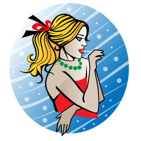 Young Lady With Lollipop Vector - Free vector #207047
