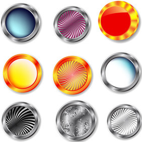 Set Of Vector Glossy Buttons - vector gratuit #207267