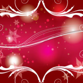 Red Shinning Swirls And Flowers Vector - Free vector #207277