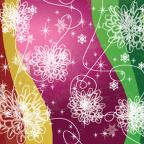 Purple Green Orange Floral Stars Design - vector #207657 gratis