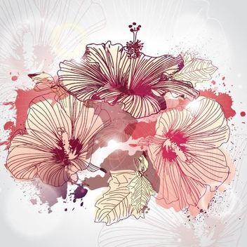 Illustrated Flowers - vector #207707 gratis