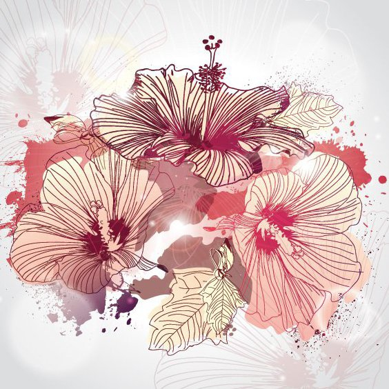 Illustrated Flowers - Free vector #207707