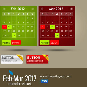 Calendar Widget (Feb-Mar 2012) + Buttons - vector gratuit #207717