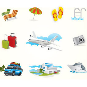 Holiday Travel Elements - vector gratuit #207727