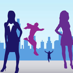 City People Silhouettes - vector #207777 gratis