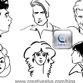 Line Art Faces - Kostenloses vector #207907