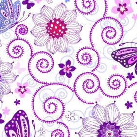 Floral Butterfly Pattern - vector gratuit #208457
