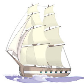 Sailing Ship Illustration - vector #208577 gratis