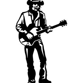 Guitar Player Illustration - Free vector #208707