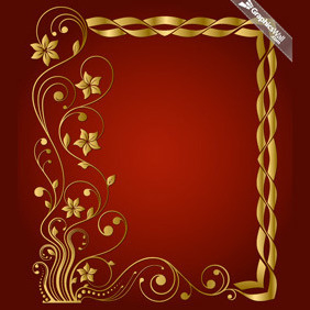 Golden Vector Frame With A Floral Motif - Free vector #208927