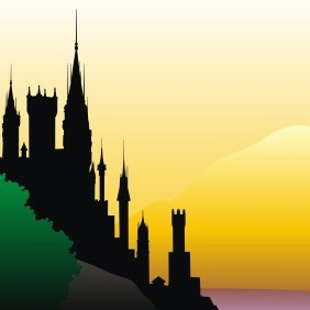 Old Castle Silhouette - бесплатный vector #209237