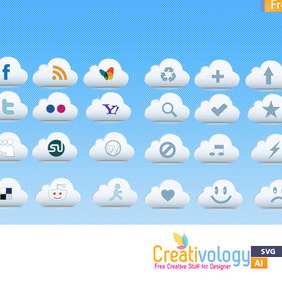 Free Cloud Icon Pack - vector gratuit #209307