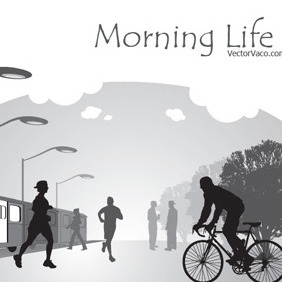 Vection Illustration Of Morning Life - Free vector #209427