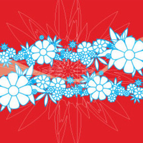 Red Backround With Blue Flowers - Kostenloses vector #209717