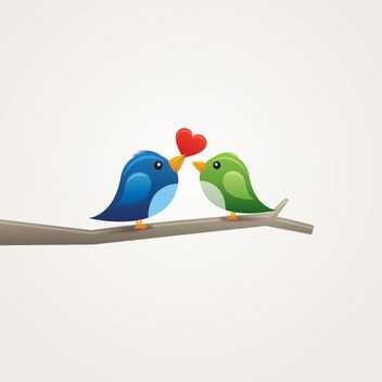 Birds in Love - vector gratuit #209857