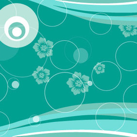 Circles In Blue Floral Abstract Vector - Free vector #209907