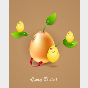 Free Vector Easter Illustration With Egg And Leaves - Free vector #210267