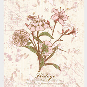 Vector Retro Floral Illustration - vector #210417 gratis