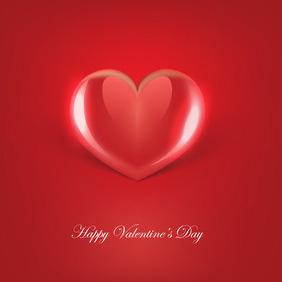 Glossy Red Vector Heart - Free vector #210537