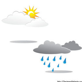 Free Sunny And Rainy Clouds - Free vector #211637