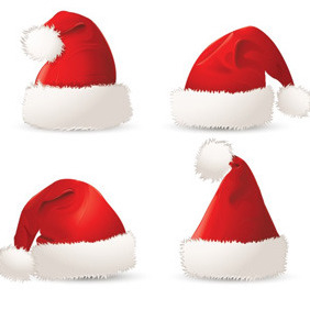 Four Christmas Hats - Free vector #211827