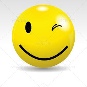 Glossy Smiley Ball Winking - Free vector #211837