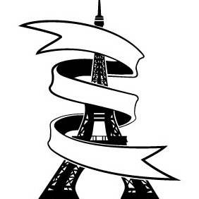 Eiffel Tower With Banner Vector - Free vector #211897