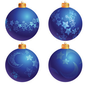 Blue Christmas Tree Decoration Balls - Free vector #212157