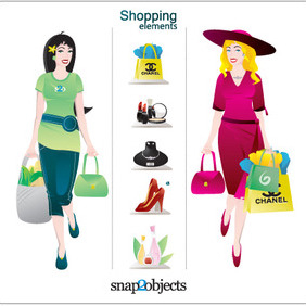 Vector Shopping Elements And Illustrations - vector gratuit #212297