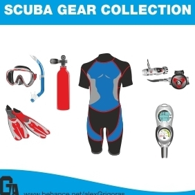 Scuba Gear Collection - бесплатный vector #213067