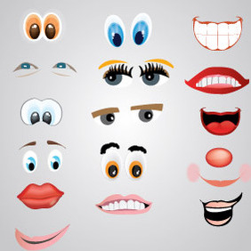 Face Elements - vector gratuit #213247
