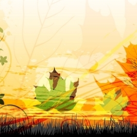 Attractive Autumn Card - Free vector #213287