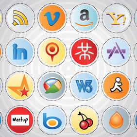 Social Media Icon Set - vector gratuit #213677