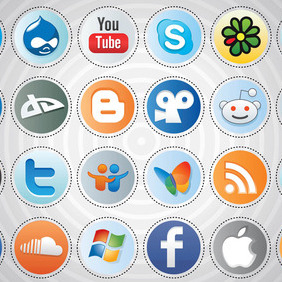 Social Media Buttons - vector gratuit #213727