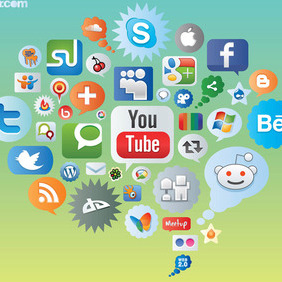 Social Media Icons - vector gratuit #213807