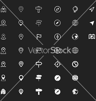Free navigation map and cartography icon set vector - vector #214357 gratis