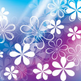 White And Transparent Flower In Blue Background - vector gratuit #214387
