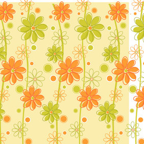 Green & Orange Floral Background - vector #214547 gratis