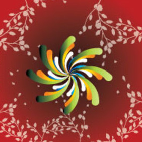 Colorful Flower In Red Floral Background - vector gratuit #214697