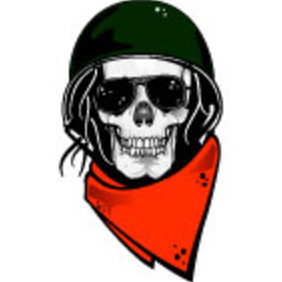 Skull With Military Helmet Vector - Free vector #215067