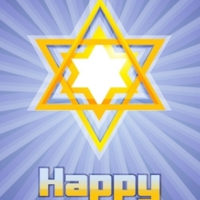 Happy Hanukkah With Star Of David - vector gratuit #215087