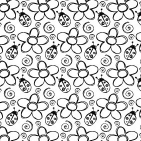 Summer Bugs And Petal Seamless Photoshop And Vector Pattern - Free vector #215137