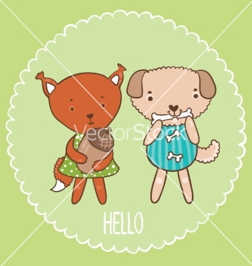 Free squirrel and dog vector - vector gratuit #215207